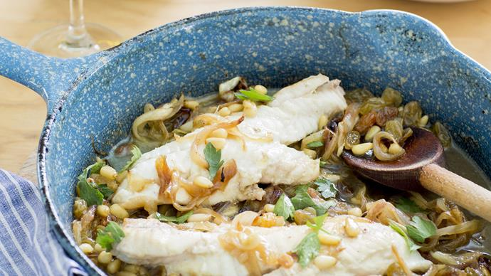 Venetian-style fish with onions & pine nuts