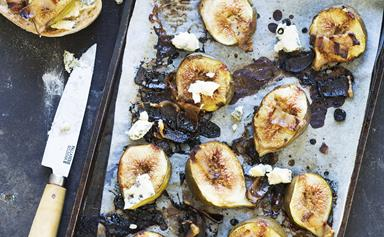 Roasted figs with pancetta and blue cheese