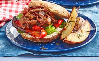 Shredded lamb burger with rosemary wedges
