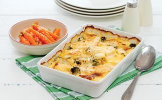 Cheesy vegetable bake with honey glazed carrots