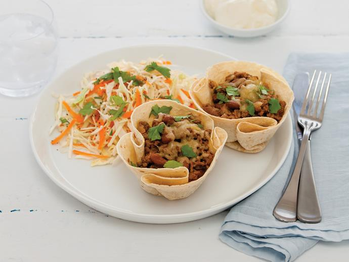 "**[Tortilla cups with spicy beef](https://www.womensweeklyfood.com.au/recipes/tortilla-cups-with-spicy-beef-1503|target=""_blank"")**  Spicy beef and beans are topped with cheese and quickly baked in tortilla cups for this tasty Mexican-style meal"