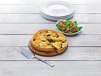 Prawn and spinach tart