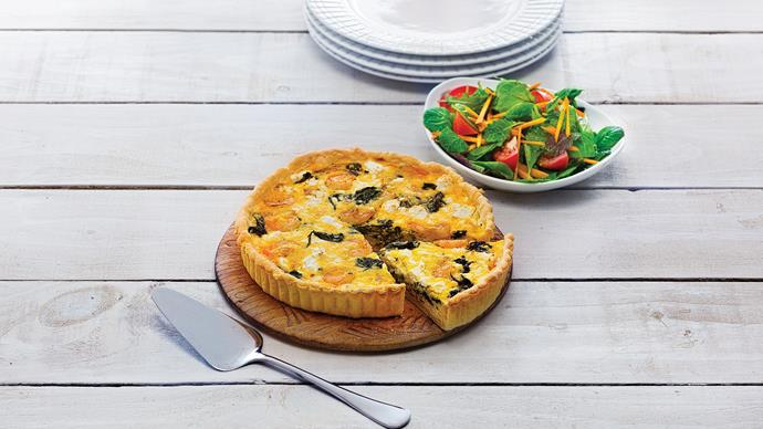 Prawn and spinach tart