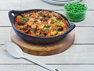 Courgette and sausage baked risotto
