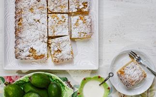 Feijoa and custard crumble tart