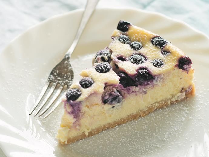"""**[Lemon and blueberry cheesecake](https://www.womensweeklyfood.com.au/recipes/lemon-and-blueberry-cheesecake-1489