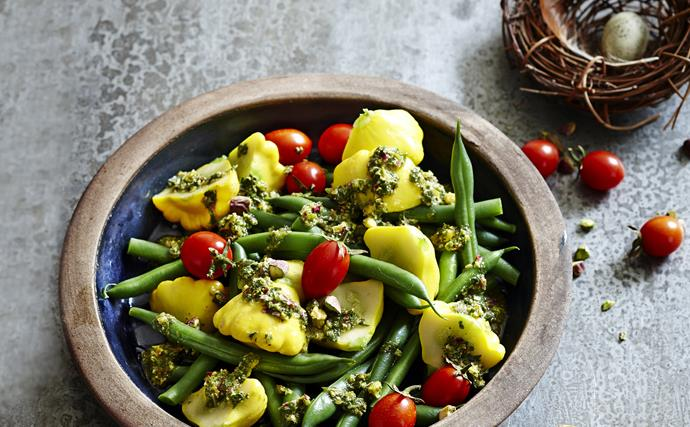 Beans with mint and pistachio pesto