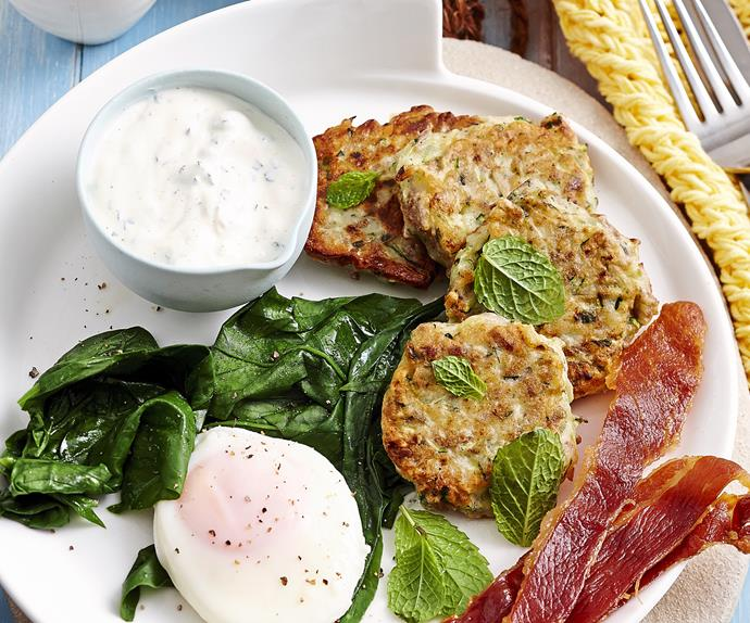 Zucchini fritters with mint yoghurt
