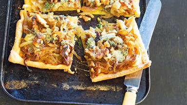 Walnut and blue cheese tart