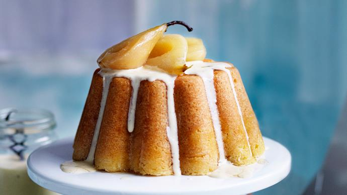 Steamed vanilla pudding with pears and vanilla crème anglaise