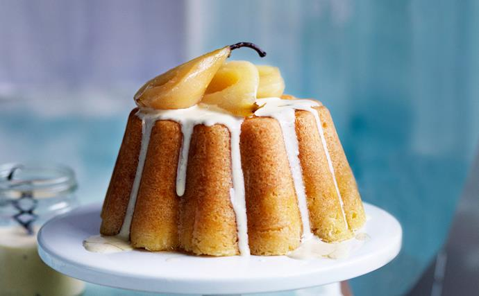 steamed vanilla pudding with poached pears