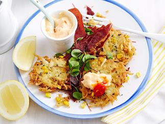 Potato and corn rosti with chilli aioli