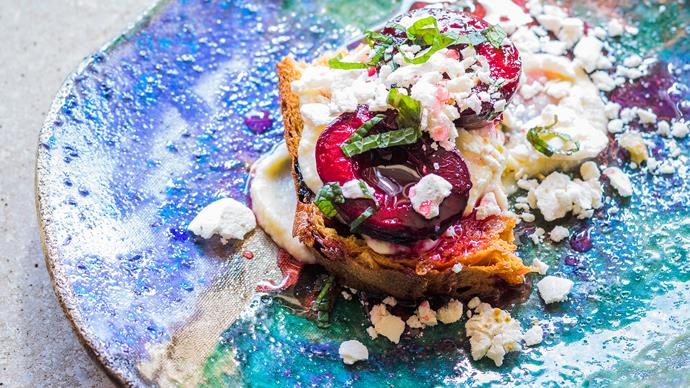 Grilled plums on toasted panettone with honeyed ricotta and mint syrup