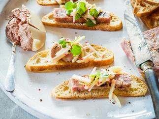 Crostini of chicken and duck parfait, or pork and prune terrine, with apple radish slaw