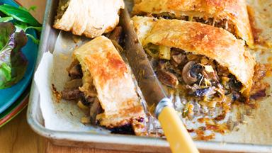 Mushroom and rosemary strudel