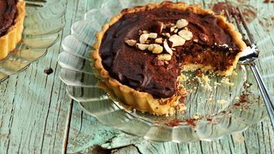 Chocolate caramel and hazelnut tarts