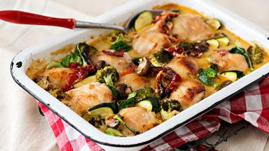 Creamy oven-baked chicken and vegetable casserole