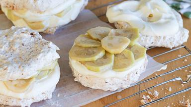 Toasted coconut and feijoa meringue sandwiches