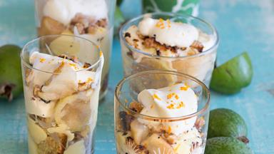 Feijoa, ginger custard and walnut trifles