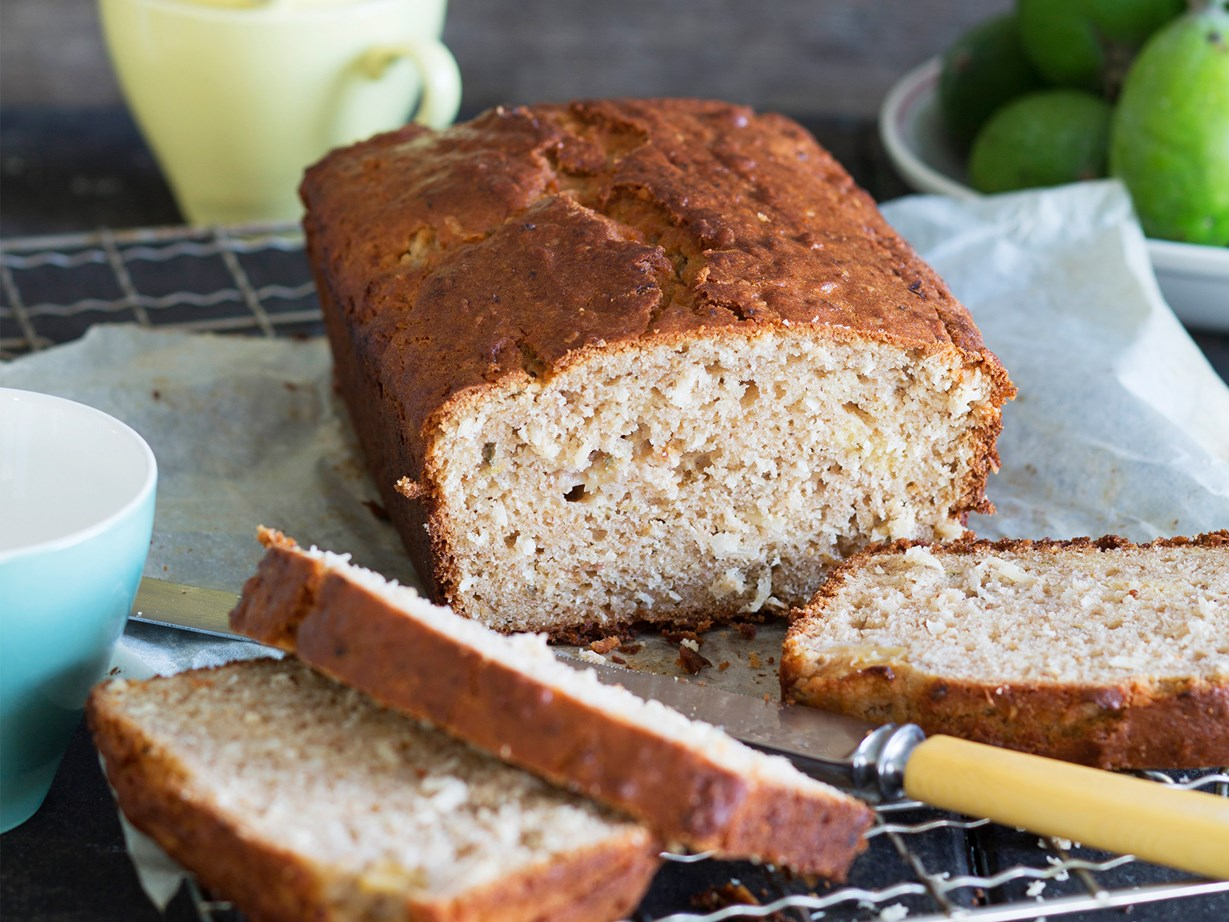 """[Feijoa and coconut loaf](http://www.foodtolove.co.nz/recipes/feijoa-and-coconut-loaf-22241