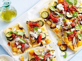 Polenta and vegetable tart