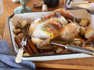 Perfect roast chicken with orange and rosemary