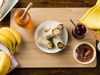 Chocolate and banana roll up