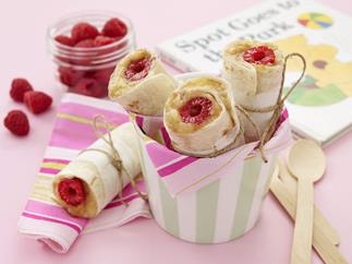 Mashed banana, honey and raspberry roll up