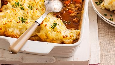 Shepherd's pie with turnip mash topping