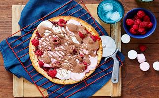 Raspberry s'mores pizza