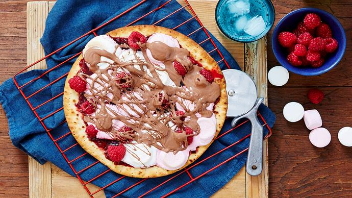 Raspberry s'mores pizza