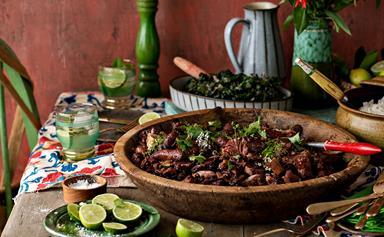 Brazilian spicy pork nose-to-tail stew