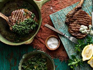 Rib eye steak with green sauces
