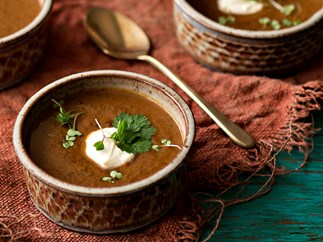 Chipotle, kumara and turtle bean soup