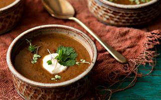 Chipotle, kumara and turtle bean soup