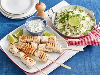 Swordfish skewers with coriander pilaf