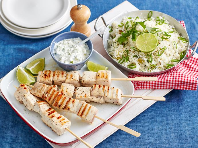 "**[Swordfish skewers with coriander pilaf recipe](https://www.womensweeklyfood.com.au/recipes/swordfish-skewers-with-coriander-pilaf-1518|target=""_blank"")**"