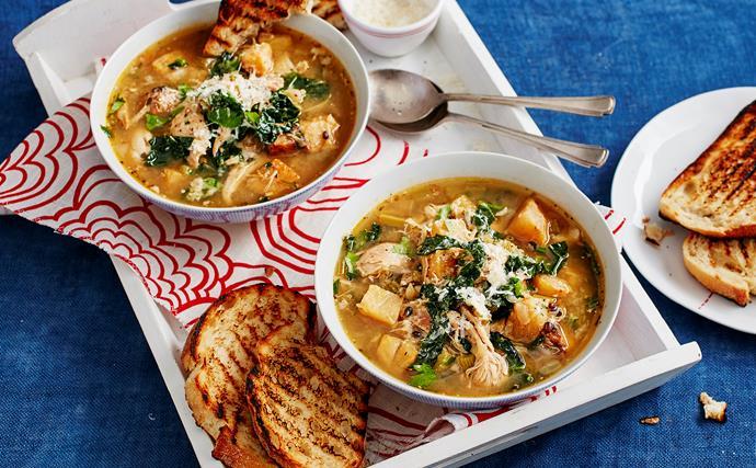 Chicken, celeriac and barley stew