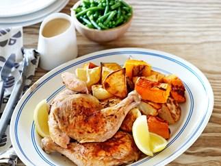 Roast chicken with gravy and veggies