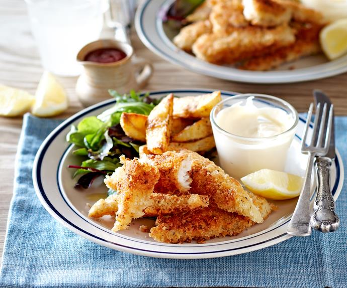 Crunchy fish goujons and potato wedges