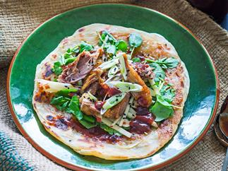 Spiced duck, apple and watercress roti rolls