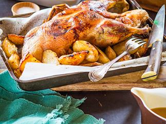 Roasted duck with orange and mustard sauce