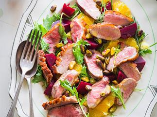 Duck breast salad with beets and orange