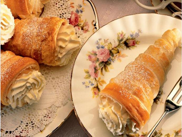 "**[Women's Weekly Vintage Edition: Cream horns](https://www.womensweeklyfood.com.au/recipes/womens-weekly-vintage-edition-cream-horns-28650|target=""_blank"")**  How decadent does a freshly made cream horn taste? Whip up a batch to surprise everyone at your next afternoon tea, for a delicious trip down memory lane."