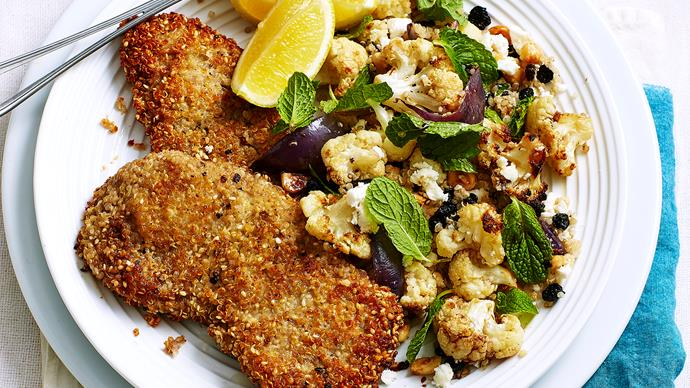 Gluten-free veal schnitzel with cauliflower salad