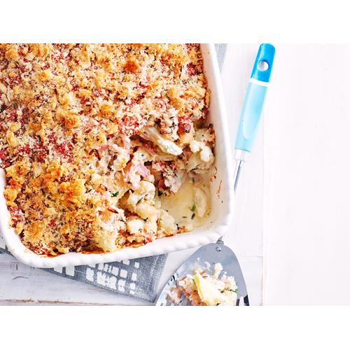 Ham Fettuccine Bake Recipe: Cauliflower And Ham Pasta Bake Recipe