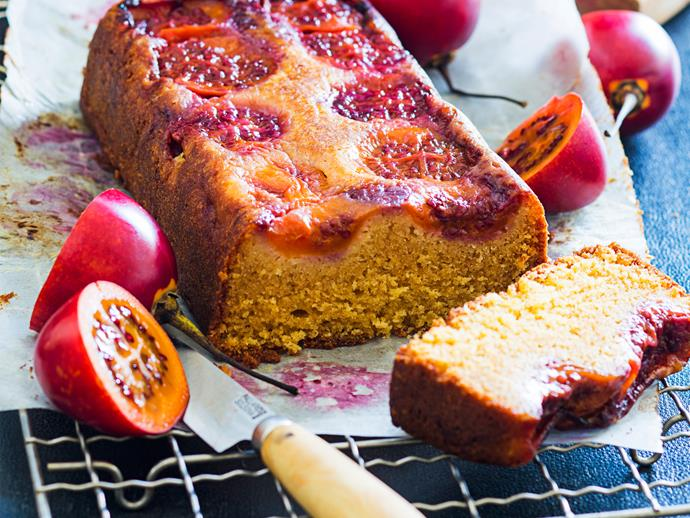 """**[Tamarillo loaf cake](https://www.womensweeklyfood.com.au/recipes/tamarillo-loaf-cake-1538