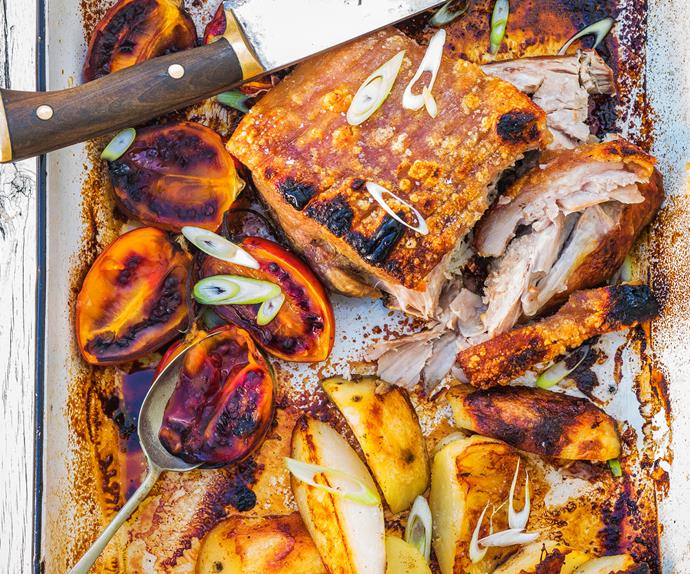 Slow-cooked pork and roasted tamarillos