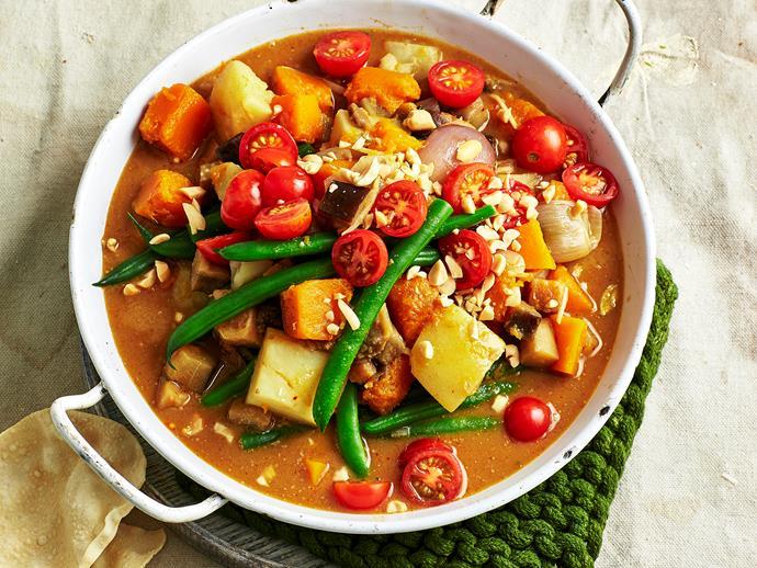 "**[Pumpkin and eggplant massaman curry recipe](https://www.womensweeklyfood.com.au/recipes/pumpkin-and-eggplant-massaman-curry-1541|target=""_blank"")**"