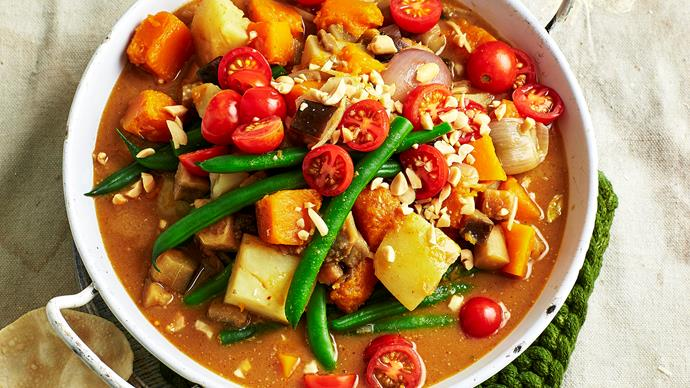 Pumpkin and eggplant massaman curry